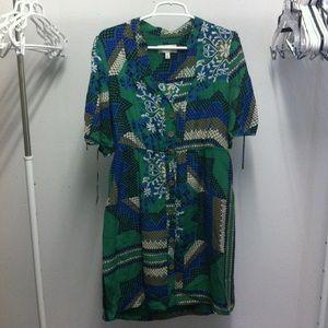 Anthropologie Rainforest Shirtdress Silk Sz 12